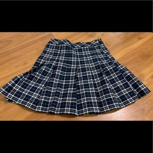 H&M navy Pleated plaid skirt